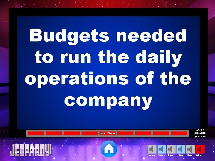 Budgets needed to run the daily operations of the company GO TO ANSWER (question)