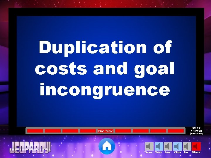 Duplication of costs and goal incongruence GO TO ANSWER (question) Start Timer Theme Timer