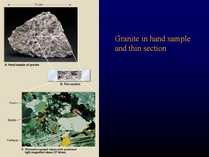 Granite in hand sample and thin section