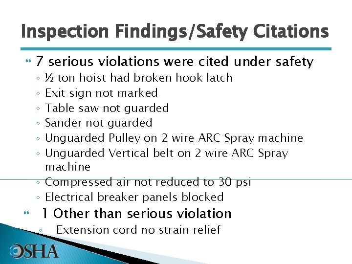 Inspection Findings/Safety Citations 7 serious violations were cited under safety ½ ton hoist had
