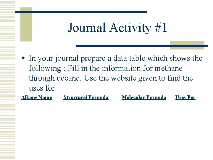 Journal Activity #1 w In your journal prepare a data table which shows the