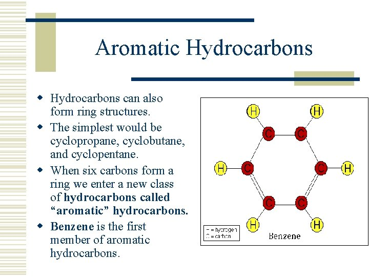 Aromatic Hydrocarbons w Hydrocarbons can also form ring structures. w The simplest would be