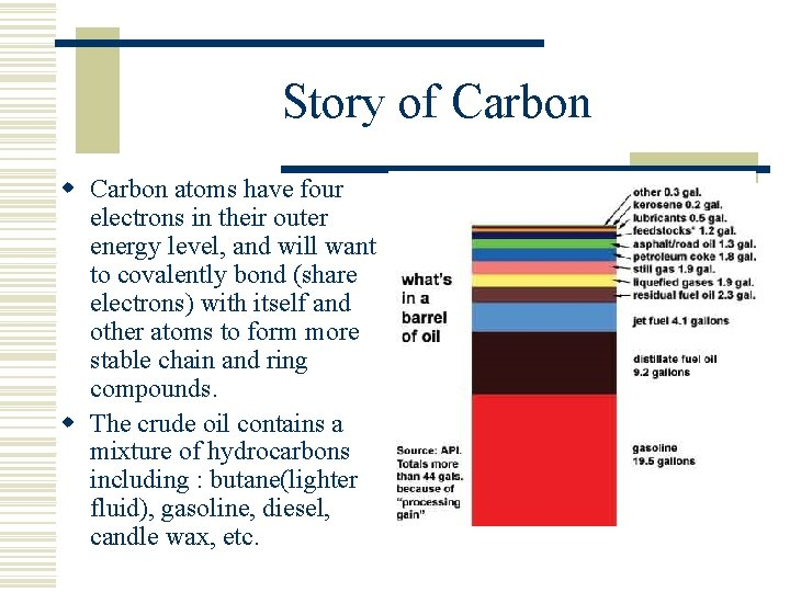 Story of Carbon w Carbon atoms have four electrons in their outer energy level,
