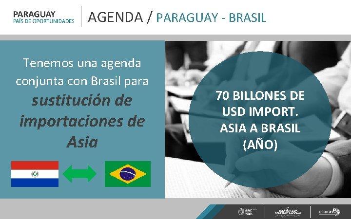 AGENDA / PARAGUAY - BRASIL Tenemos una agenda conjunta con Brasil para sustitución de