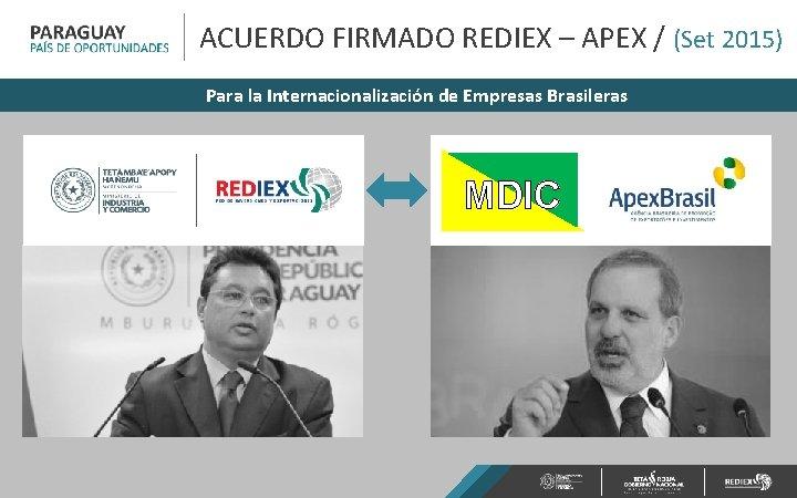 ACUERDO FIRMADO REDIEX – APEX / (Set 2015) Para la Internacionalización de Empresas Brasileras
