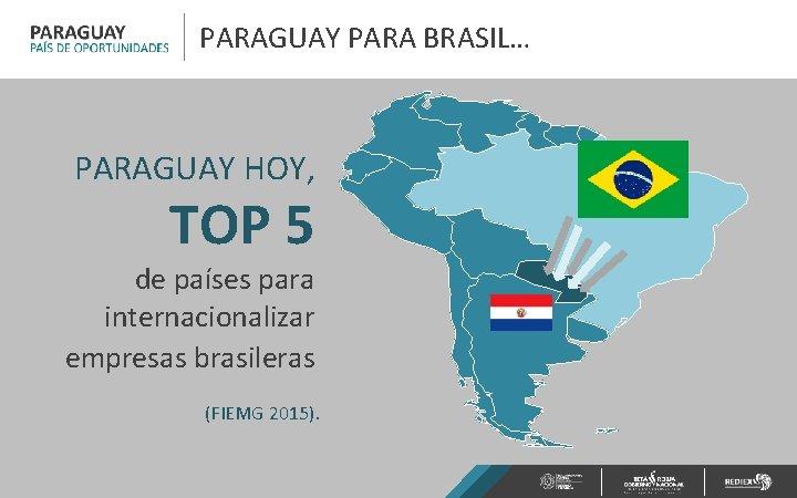 PARAGUAY PARA BRASIL… PARAGUAY HOY, TOP 5 de países para internacionalizar empresas brasileras (FIEMG
