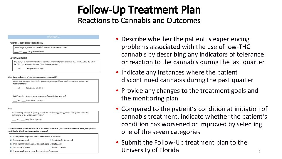 Follow-Up Treatment Plan Reactions to Cannabis and Outcomes • Describe whether the patient is