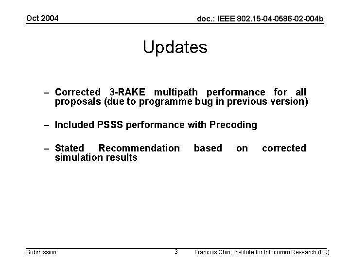 Oct 2004 doc. : IEEE 802. 15 -04 -0586 -02 -004 b Updates –