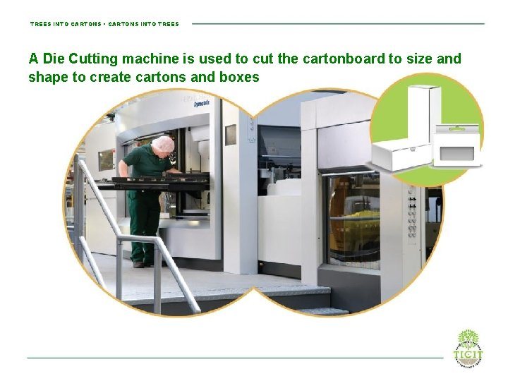 TREES INTO CARTONS • CARTONS INTO TREES A Die Cutting machine is used to
