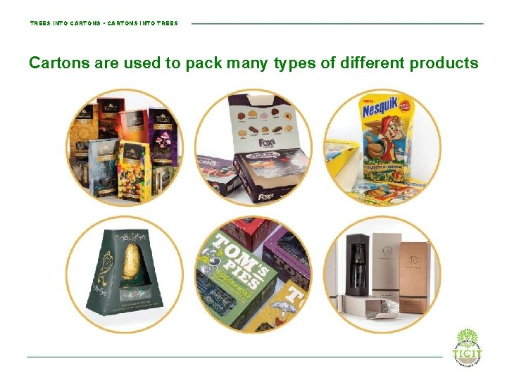 TREES INTO CARTONS • CARTONS INTO TREES Cartons are used to pack many types