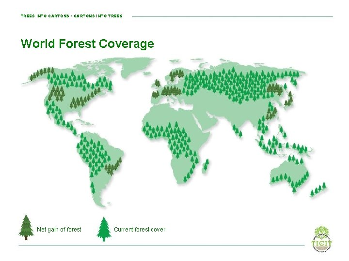 TREES INTO CARTONS • CARTONS INTO TREES World Forest Coverage Net gain of forest