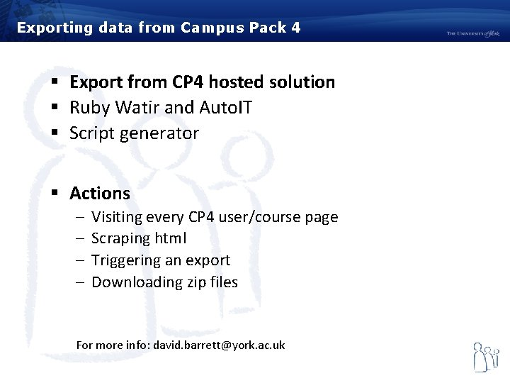 Exporting data from Campus Pack 4 § Export from CP 4 hosted solution §