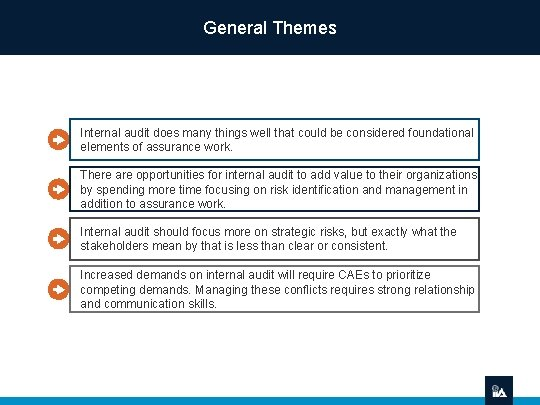 General Themes Internal audit does many things well that could be considered foundational elements
