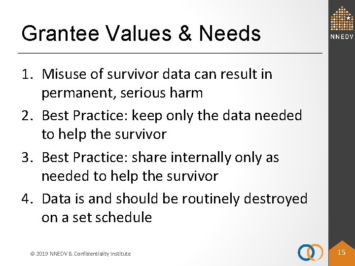 Grantee Values & Needs 1. Misuse of survivor data can result in permanent, serious