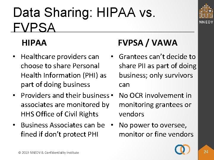 Data Sharing: HIPAA vs. FVPSA HIPAA • Healthcare providers can • choose to share