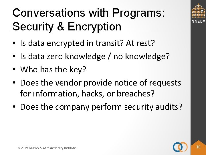 Conversations with Programs: Security & Encryption Is data encrypted in transit? At rest? Is
