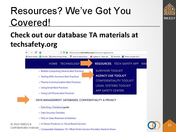 Resources? We've Got You Covered! Check out our database TA materials at techsafety. org
