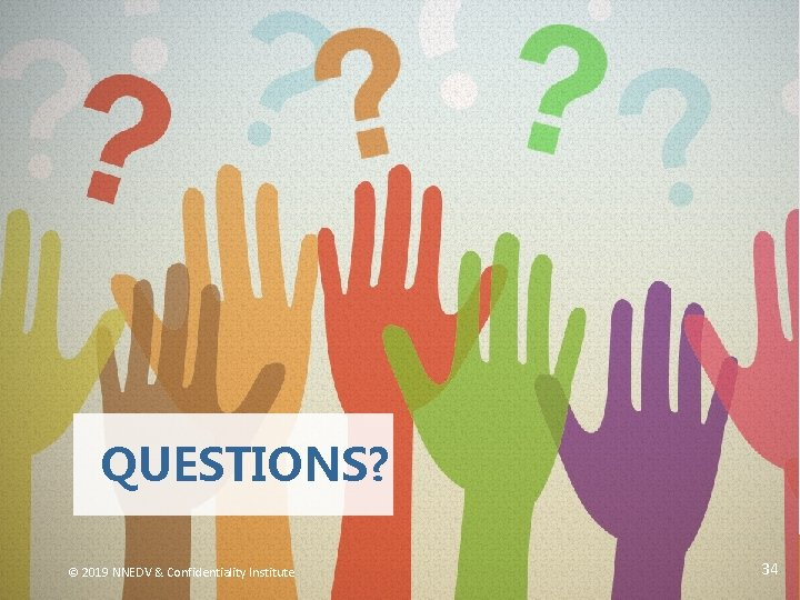 QUESTIONS? © 2019 NNEDV & Confidentiality Institute 34