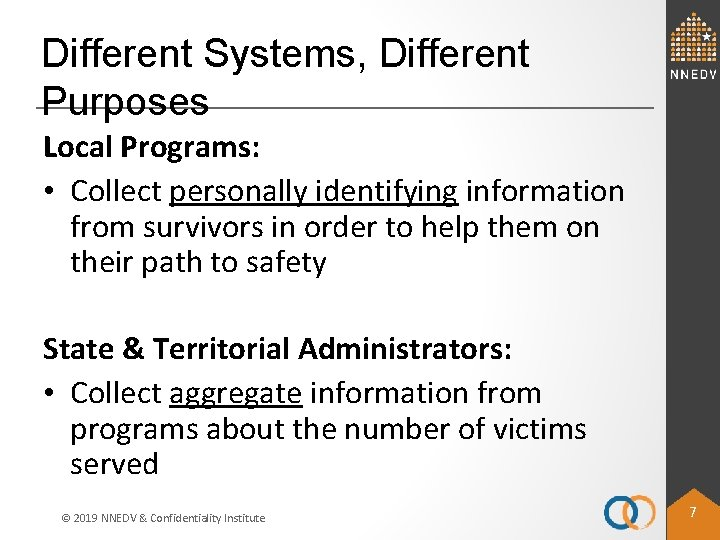 Different Systems, Different Purposes Local Programs: • Collect personally identifying information from survivors in