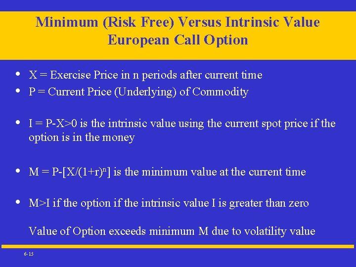 Minimum (Risk Free) Versus Intrinsic Value European Call Option • • X = Exercise