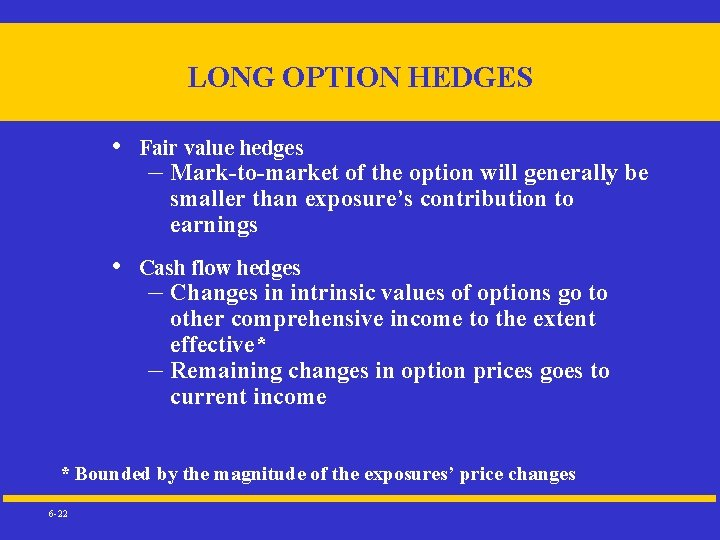 LONG OPTION HEDGES • Fair value hedges – Mark-to-market of the option will generally