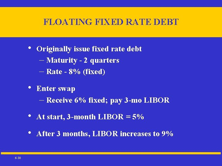 FLOATING FIXED RATE DEBT 6 -30 • Originally issue fixed rate debt – Maturity