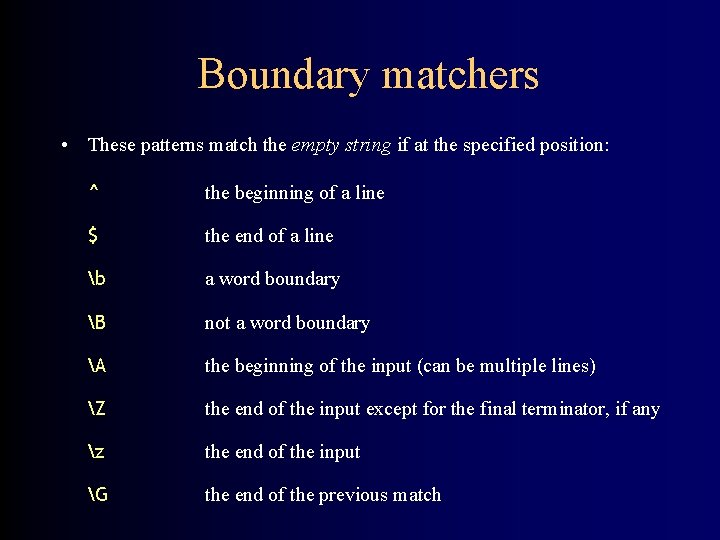 Boundary matchers • These patterns match the empty string if at the specified position:
