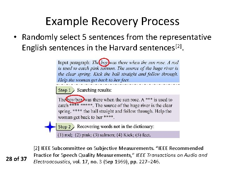 Example Recovery Process • Randomly select 5 sentences from the representative English sentences in