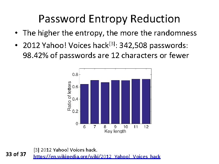 Password Entropy Reduction • The higher the entropy, the more the randomness • 2012