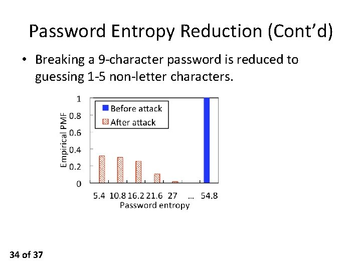 Password Entropy Reduction (Cont'd) • Breaking a 9 -character password is reduced to guessing