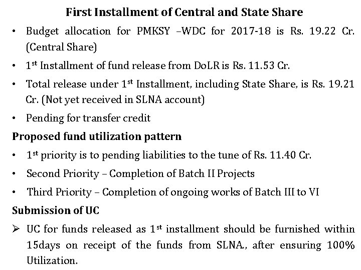 First Installment of Central and State Share • Budget allocation for PMKSY –WDC for