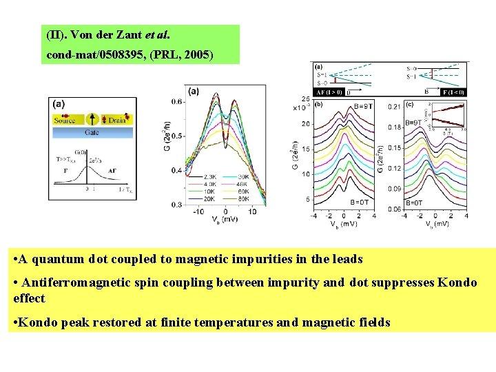 (II). Von der Zant et al. cond-mat/0508395, (PRL, 2005) • A quantum dot coupled