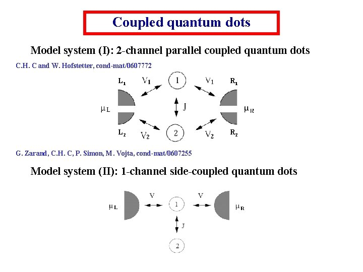 Coupled quantum dots Model system (I): 2 -channel parallel coupled quantum dots C. H.