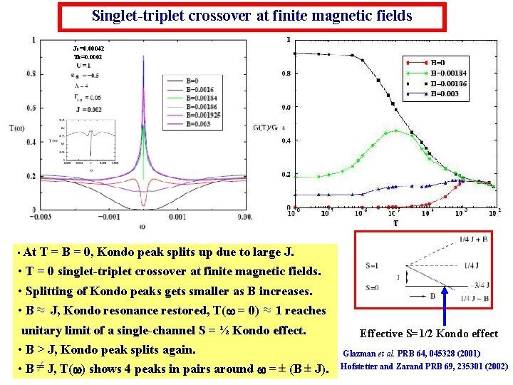 Singlet-triplet crossover at finite magnetic fields Jc=0. 00042 Tk=0. 0002 • At T =