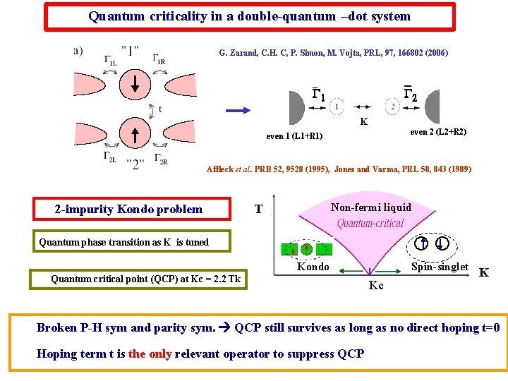 Quantum criticality in a double-quantum –dot system G. Zarand, C. H. C, P. Simon,