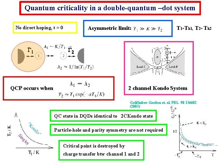 Quantum criticality in a double-quantum –dot system Asymmetric limit: No direct hoping, t =