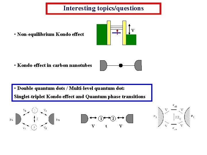 Interesting topics/questions V • Non-equilibrium Kondo effect • Kondo effect in carbon nanotubes •