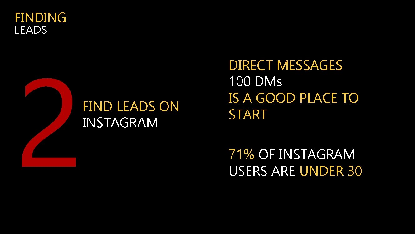 FINDING LEADS 2 FIND LEADS ON INSTAGRAM DIRECT MESSAGES 100 DMs IS A GOOD