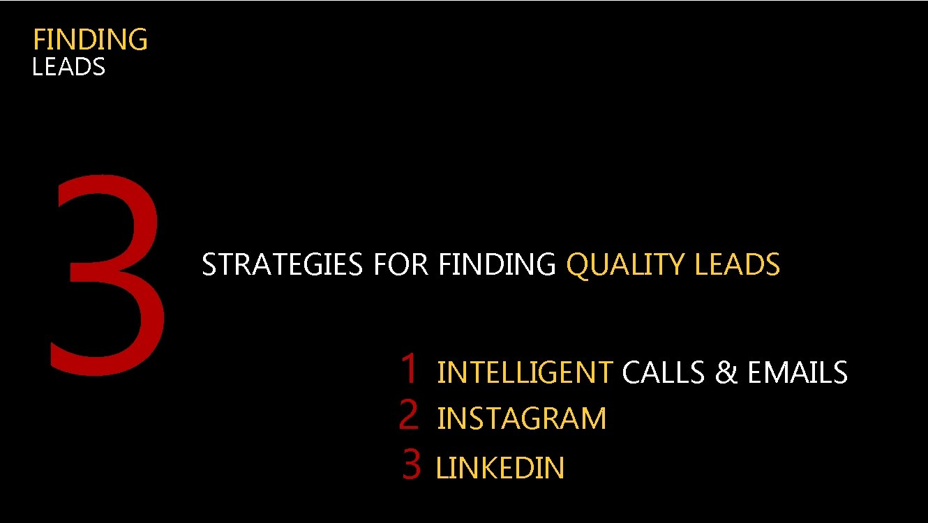FINDING LEADS 3 STRATEGIES FOR FINDING QUALITY LEADS 1 INTELLIGENT CALLS & EMAILS 2