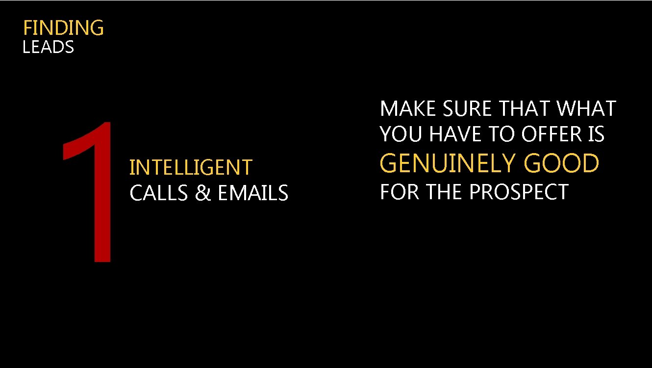 FINDING LEADS 1 INTELLIGENT CALLS & EMAILS MAKE SURE THAT WHAT YOU HAVE TO