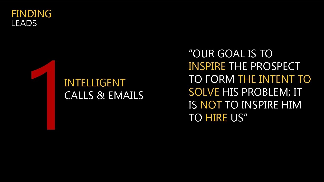 """FINDING LEADS 1 INTELLIGENT CALLS & EMAILS """"OUR GOAL IS TO INSPIRE THE PROSPECT"""