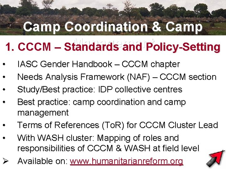 Camp Coordination & Camp Management 1. CCCM – Standards and Policy-Setting • • IASC
