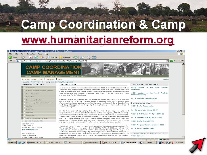 Camp Coordination & Camp www. humanitarianreform Management. org