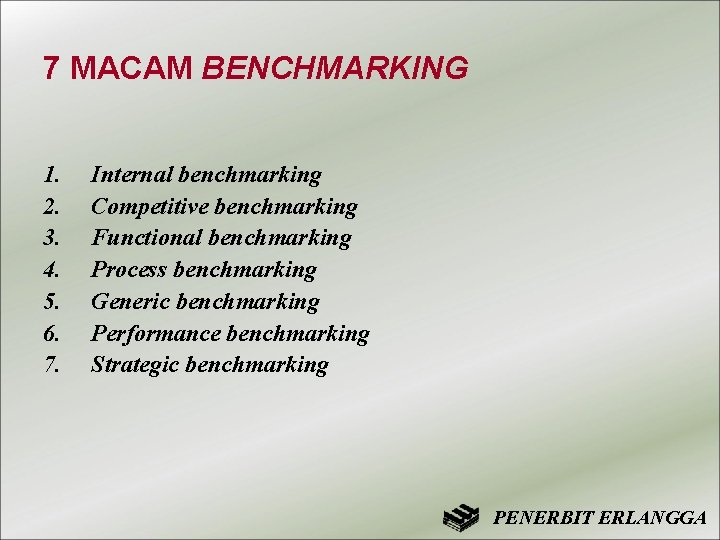 7 MACAM BENCHMARKING 1. 2. 3. 4. 5. 6. 7. Internal benchmarking Competitive benchmarking