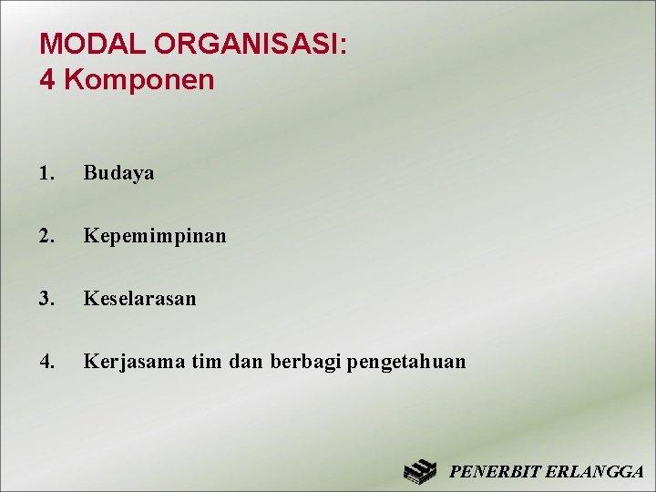 MODAL ORGANISASI: 4 Komponen 1. Budaya 2. Kepemimpinan 3. Keselarasan 4. Kerjasama tim dan