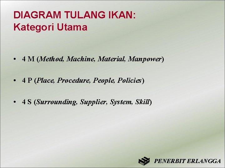 DIAGRAM TULANG IKAN: Kategori Utama • 4 M (Method, Machine, Material, Manpower) • 4