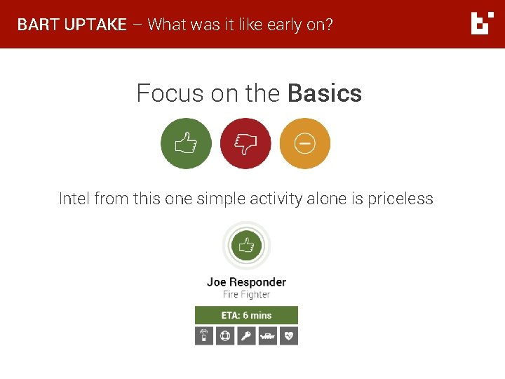 BART UPTAKE – What was it like early on? Focus on the Basics Intel