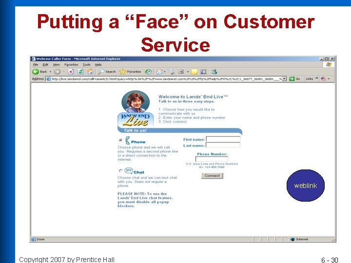 """Putting a """"Face"""" on Customer Service weblink Copyright 2007 by Prentice Hall 6 -"""