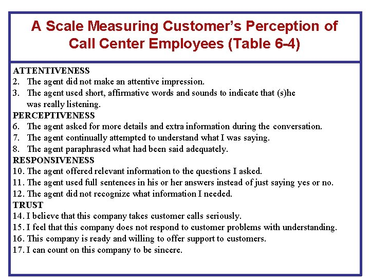 A Scale Measuring Customer's Perception of Call Center Employees (Table 6 -4) ATTENTIVENESS 2.