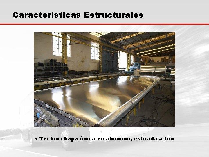 Características Estructurales • Techo: chapa única en aluminio, estirada a frío